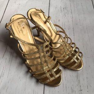 Kate Spade Gold Strappy Glitter Heels